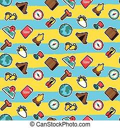 Travel seamless cartoon pattern