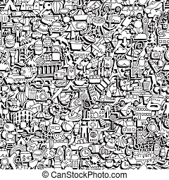 Travel seamless pattern in black and white (repeated) with...