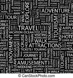 TRAVEL. Seamless pattern. Word cloud illustration.