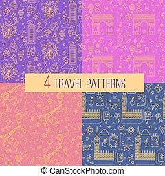 Travel Seamless Patterns Set: London and Paris