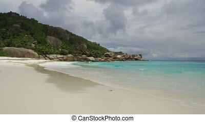 island beach in indian ocean on seychelles - travel,...