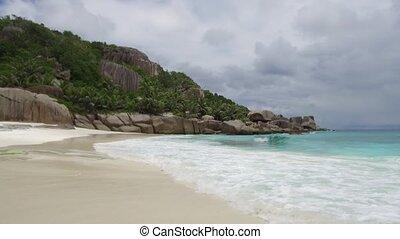 island beach in indian ocean on seychelles