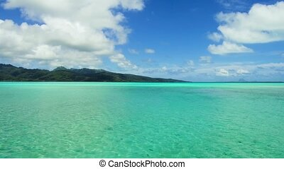 lagoon and mountains in french polynesia - travel, seascape...