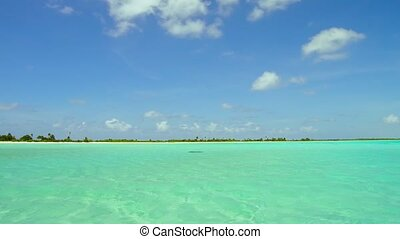 lagoon at tropical beach in french polynesia - travel,...