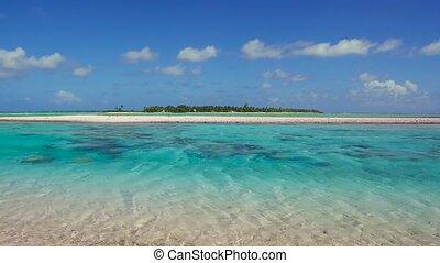 lagoon at tropical island beach in french polynesia