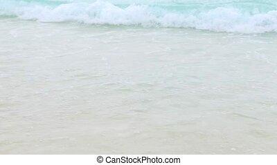 sea or indian ocean waves on seychelles beach - travel,...