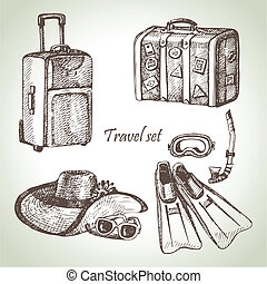 Travel set. Hand drawn illustrations