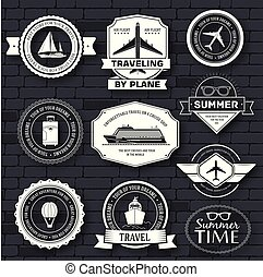 Travel set label template of emblem element for your product or design, web and mobile applications with text. Vector illustration with thin lines isolated icons on stamp symbol