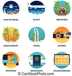 Travel Set. Modern flat design. Vector illustration.