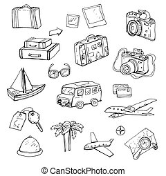 Travel, set of hand-drawn doodle elements