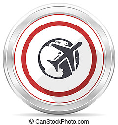 Travel silver metallic chrome border round web icon on white background
