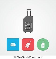 Travel SIM. Roaming. Luggage icon vector