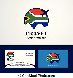 Travel South Africa Flag Logo and Visiting Card Design