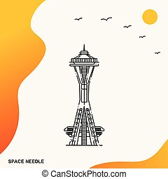 Travel SPACE NEEDLE Poster Template