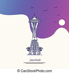 Travel SPACE NEEDLE Poster Template. Purple creative...