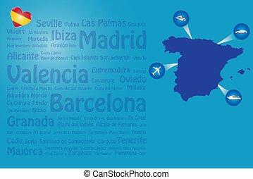 Travel Spain landmarks names template vector
