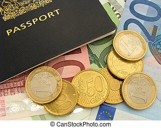 Travel spending - Passport with scattered Euro notes and...