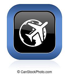travel square glossy icon
