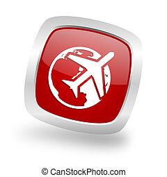 travel square red glossy chrome silver metallic web icon