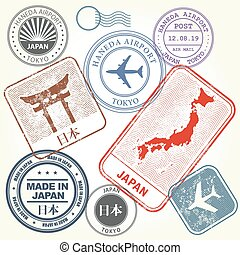 Travel stamps set Japan and Tokyo theme (with inscription...