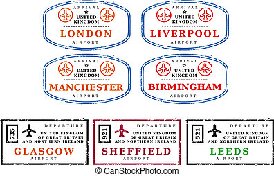 Travel stamps - UK - Travel stamps from United Kingdom (UK)....