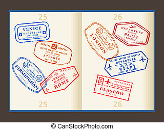 Travel stamps - Various colorful visa stamps (not real) on...