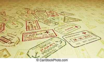 Travel stamps with flying visas - A horizontal panoramic 3d...