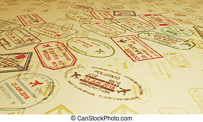 A panoramic 3d illustration of travel stamps flying and landing on slanting sandy surface full of visa marks in the camel yellow background. It looks inspiring and cheerful.