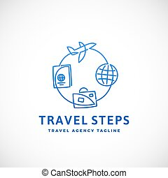 Travel Steps Abstract Vector Sign, Emblem or Logo Template. Line Style Illustration.