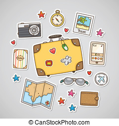 Travel stickers, set