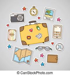 Travel stickers, set