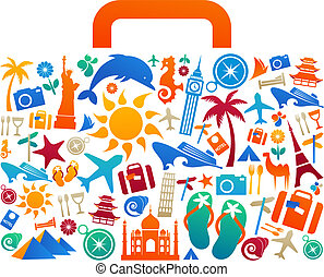 Travel suitcase - 2 - Travel suitcase with many colourful...