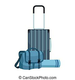 travel suitcase and bag icon, flat desgin