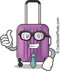 travel suitcase businessman isolated with the cartoon