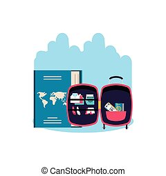 travel suitcase equipment with passport