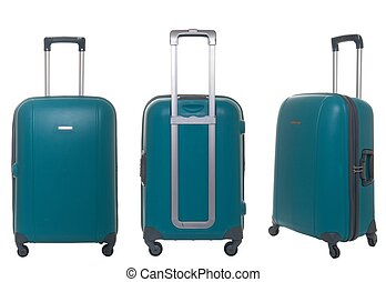 green travel suitcase collection isolated on white background