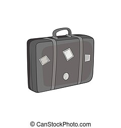 Travel suitcase icon, black monochrome style