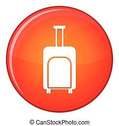 Travel suitcase icon, flat style