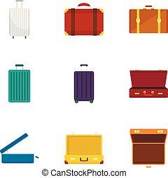 Travel suitcase icon set, flat style