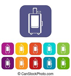 Travel suitcase icons set