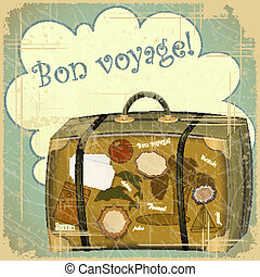 travel suitcase - Retro summer postcard - travel suitcase -...