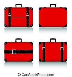 travel suitcase set in red illustration