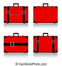 travel suitcase set in red illustration