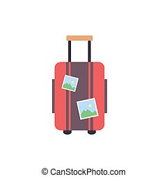 Travel suitcase wiht stickers - travel luggage icon - flat vector illustration isolated on white background.