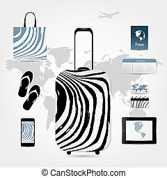 Travel suitcase with set of icons for your design