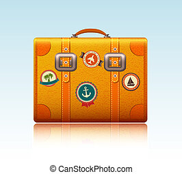 Travel suitcase with stickers isolated vector illustration