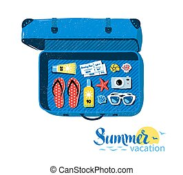 Travel suitcase with summer accessories