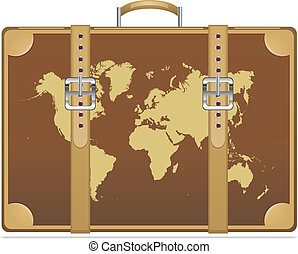 Travel suitcase with world map Vector illustration eps 10...