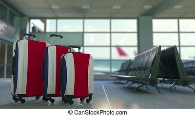 Travel suitcases featuring flag of Costa Rica. Tourism...