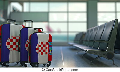 Travel suitcases featuring flag of Croatia. Croatian tourism conceptual 3D rendering